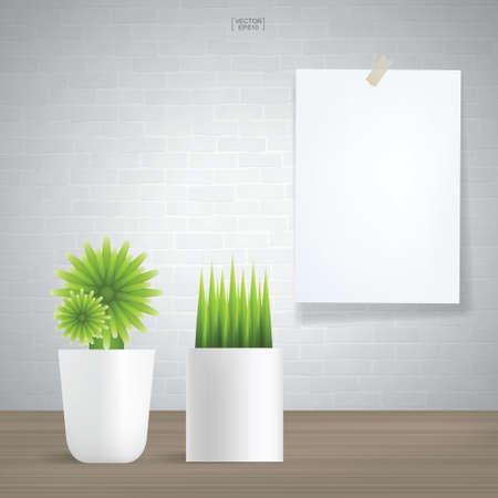 Decoration plants and white poster paper on vintage brick wall background. Vector illustration. Illusztráció
