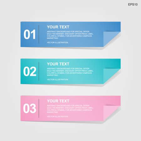 Banner paper tag for business template background. Vector illustration. Vecteurs