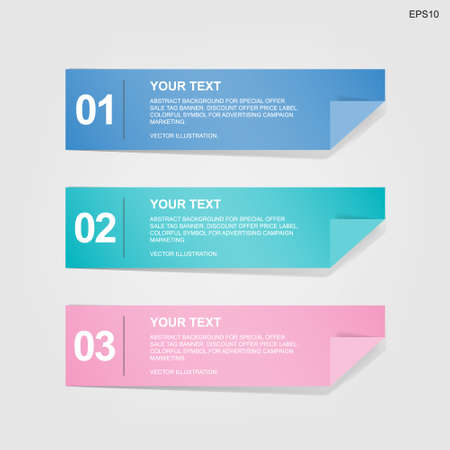 Banner paper tag for business template background. Vector illustration. Vetores