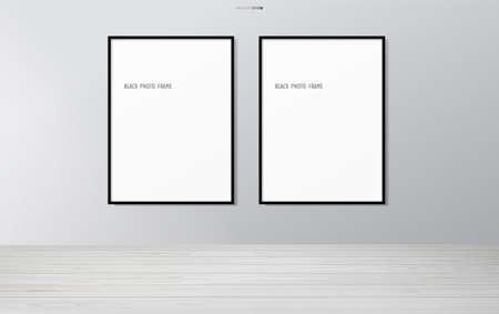 Blank photo frame or picture frame in wooden room background. Vector illustration. Vecteurs