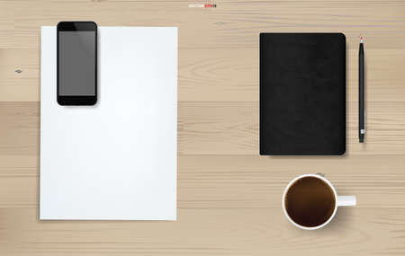 Office object background on wood. Working space area. Business background of white paper sheet, smartphone, coffee cup, notebook and pencil on wood texture. Vector illustration. Stock fotó - 155871069