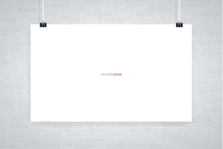 Blank white poster hanging on white brick wall. Vector illustration. Illusztráció