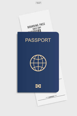Passport and boarding pass ticket on white background. Vector illustration.