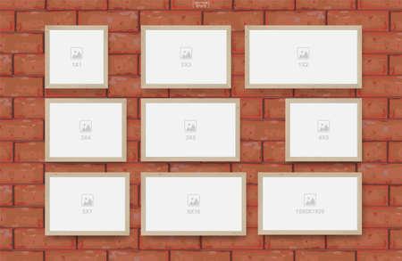 Empty photo frame on red brick wall texture background. Vector illustration. Illusztráció