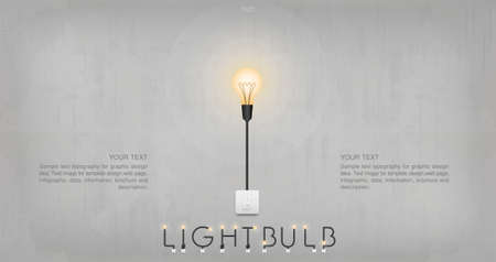 Light bulb or lamp on concrete wall background. Vector illustration. Vectores