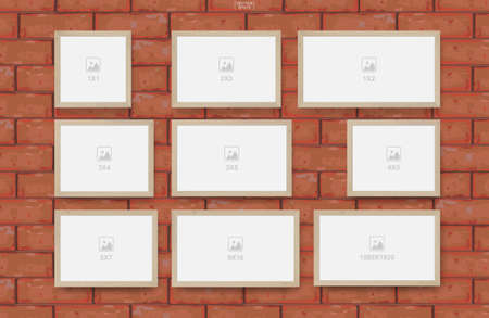 Empty photo frame on red brick wall texture background. Vector illustration. Vectores