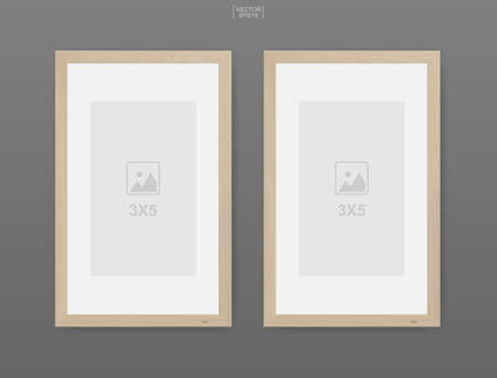 Wooden photo frame or picture frame on gray background. For interior design and decoration. Vector illustration.
