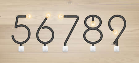 Set of loft alphabet and numbers. Abstract alphabet of light bulb and light switch on wood background. Vector illustration. Foto de archivo - 155875819