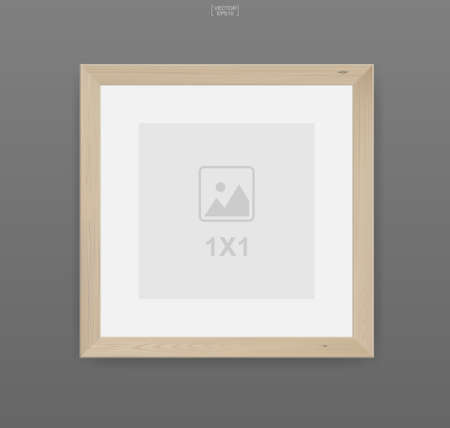 Wooden photo frame or picture frame on gray background. For interior design and decoration. Vector illustration. Foto de archivo - 155875922