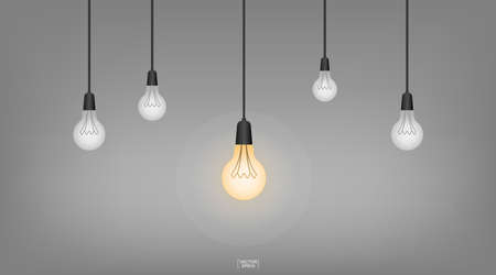 Light bulb or lamp with dark background. Vector illustration. Foto de archivo - 155876024