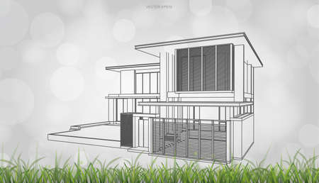 Conceptual image of house perspective render. 3D wireframe rendering with light blurred bokeh background. Vector illustration. Foto de archivo - 155875876