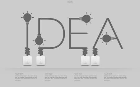 """""""Idea"""" Abstract linear alphabet of light bulb and light switch on white background. Lamp and switch with area for infographic and text. Vector illustration."""