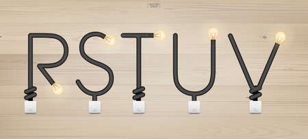 R,S,T,U,V - Set of loft alphabet letters. Abstract alphabet of light bulb and light switch on wood background. Vector illustration. Foto de archivo - 155876028