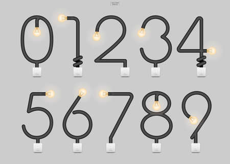 Loft alphabet and numbers. Abstract alphabet sign and symbol of light bulb and light switch on gray background. Vector illustration. Foto de archivo - 155875954