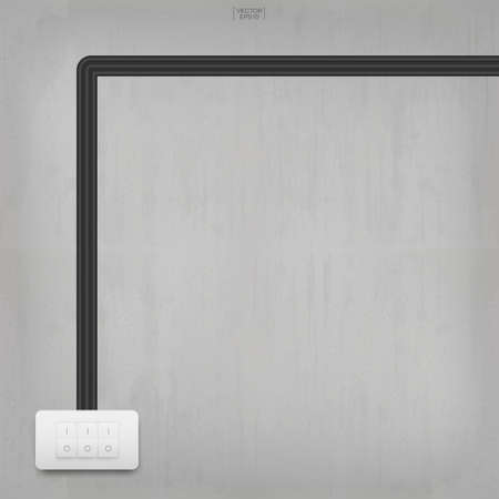 Light switch on concrete wall background. Vector illustration.
