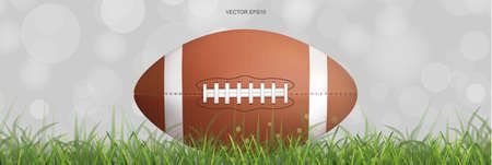 American football ball on green grass field with light blurred bokeh background. Vector illustration. Foto de archivo - 155875754
