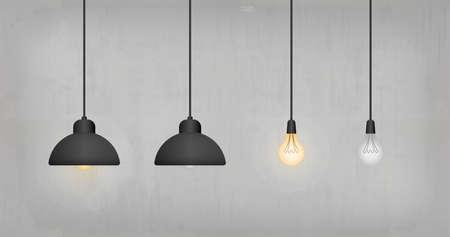 Light bulb or lamp on concrete wall background. Vector illustration. Foto de archivo - 155875770