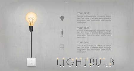 Light bulb or lamp on concrete wall background. Vector illustration. Foto de archivo - 155876030
