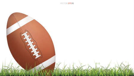 American football ball or rugby football ball on green grass court. Isolated on white background. Vector illustration. Vetores