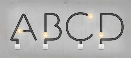 A, B, C, D - Set of loft alphabet letters. Abstract alphabet of light bulb and light switch on concrete wall background. Vector illustration.