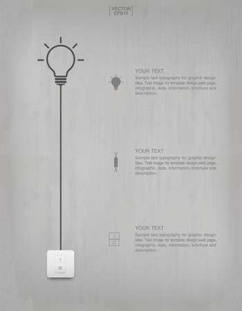 Light bulb or lamp on concrete wall background. Vector illustration. Foto de archivo - 155876090
