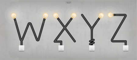 W,X,Y,Z - Set of loft alphabet letters. Abstract alphabet of light bulb and light switch on concrete wall background. Vector illustration. Vectores