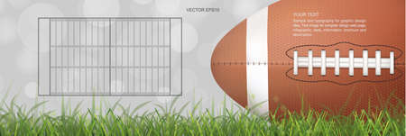 American football ball on green grass field with light blurred bokeh background. Vector illustration.