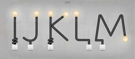 I,J,K,L,M - Set of loft alphabet letters. Abstract alphabet of light bulb and light switch on concrete wall background. Vector illustration.