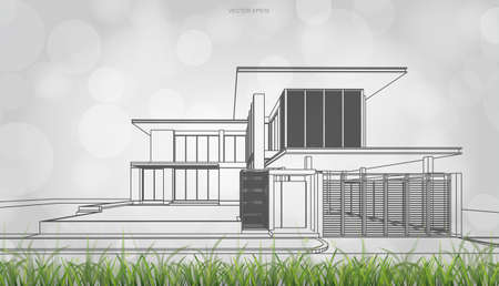 Conceptual image of house perspective render. 3D wireframe rendering with light blurred bokeh background. Vector illustration. Foto de archivo - 155875896