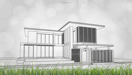 Conceptual image of house perspective render. 3D wireframe rendering with light blurred bokeh background. Vector illustration.