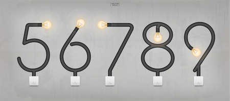 Loft alphabet and numbers. Abstract alphabet sign and symbol of light bulb and light switch on gray background. Vector illustration.