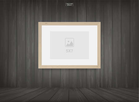 Empty photo frame or picture frame background in wooden room space background. For room design and interior decoration. Vector illustration. Ilustração