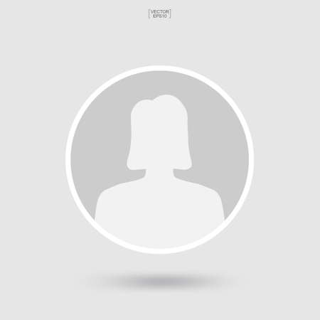 Woman icon for user profile. Female icon. Human or people sign and symbol. Vector illustration.