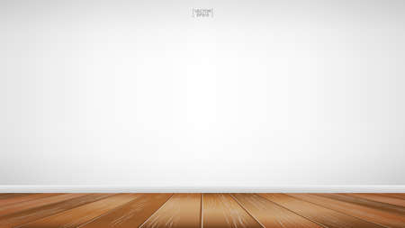 Empty wooden room space background. Interior abstract background for design and decoration. Vector illustration. Ilustração