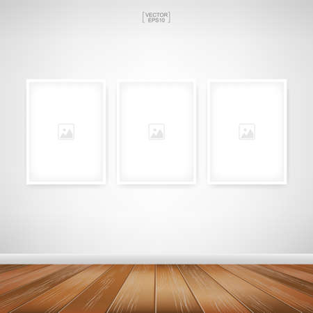 Empty photo frame or picture frame background in wooden room space background. For room design and interior decoration. Vector illustration. Иллюстрация