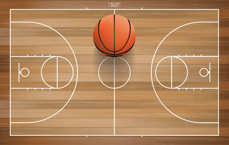 Basketball ball in basketball court area. With wooden pattern background. Vector illustration. Vetores