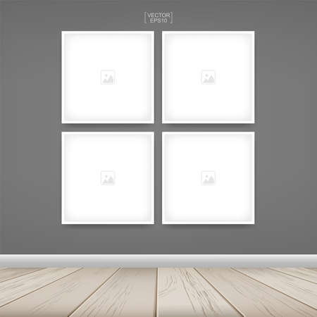 Empty photo frame or picture frame background in wooden room space background. For room design and interior decoration. Vector illustration.