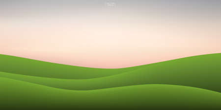 Green grass hill and sunset sky background. Outdoor natural background for template design. Vector illustration. 矢量图像