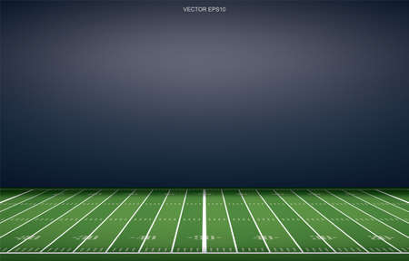 American football stadium background with perspective line pattern of grass field. Vector illustration. Vector Illustratie