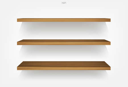 Empty wooden shelf on white background with soft shadow. Vector illustration.