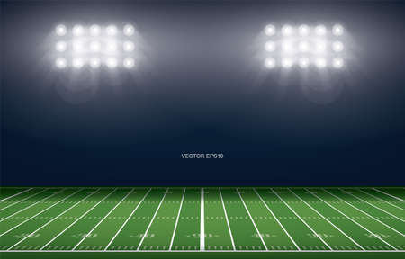 American football field stadium background. With perspective line pattern of american football field. Vector illustration. Vecteurs