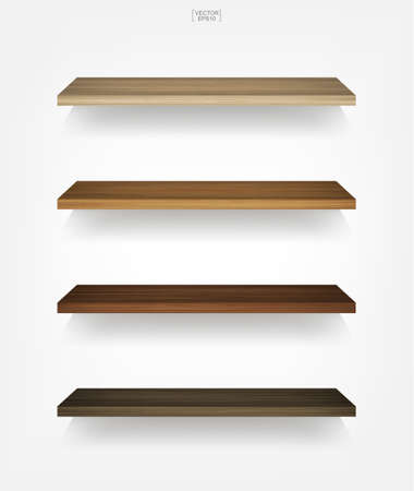 Empty wooden shelf on white background with soft shadow. Vector illustration. 矢量图像