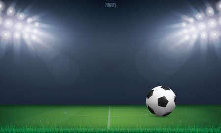 Soccer football ball and green grass of soccer field stadium background. Vector illustration. Иллюстрация