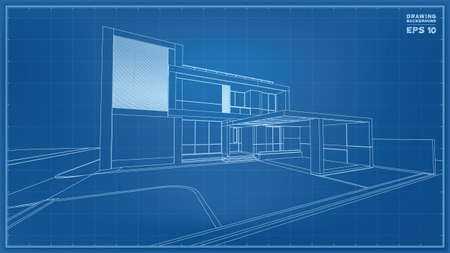 Blueprint Perspective. 3D render of tropical house wireframe. Vector illustration of house construction idea. Vettoriali