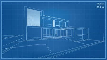 Blueprint Perspective. 3D render of tropical house wireframe. Vector illustration of house construction idea. Vektorové ilustrace