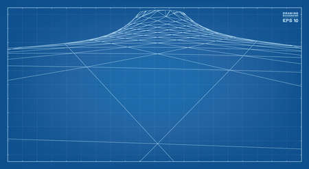 Abstract 3D wave wireframe of surrounding contour pattern. Vector 3D illustration idea.