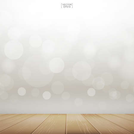 Table top background with perspective of wooden pattern and texture. Terrace with light blurred bokeh used for montage or display product. Vector illustration. Vectores
