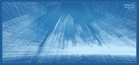 Abstract 3D perspective render of building wireframe. Architectural construction graphic idea. Vector illustration.