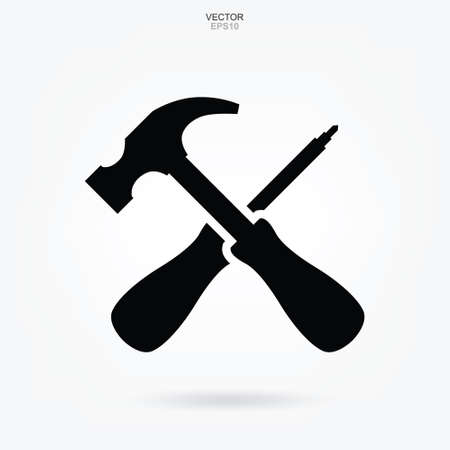 Hammer and Pliers wrench icon. Craftsman tool sign and symbol. Vector illustration. Illustration