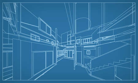 3D perspective render of building wireframe structure. Abstract construction graphic idea. Vector illustration.